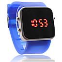 Orologio LED unisex, sportivo, quadrante rettangolare, cinturino in silicone - Blu