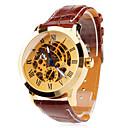 男性の古典的なスケルトンゴールドダイヤルレザーバンド自動自己風の腕時計