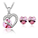 Austrian Crystals Heart In Heart Style Necklace Earrings