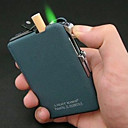 Plastic + Metal vindtæt Frosting lighter med Automatic Cigarette Case (Random Color)
