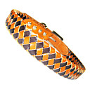 Adjustable Handmade Braid Genuine Cow Leather Plaid Pattern Collar for Dogs (Assorted Color,S-L)