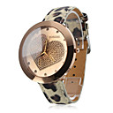 Kvinners Quartz Analog Golden Heart Wrist Watch Med Beige skinn band