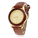 Women's Wood Case Elegant Gold Dial Brown PU Band Quartz Wrist Watch
