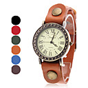 Women's Vintage Case Leather Band Quartz Wrist Watch (Assorted Colors)