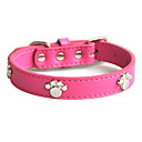 Universal Dog Paw Print Pattern Genuine Leather Collar for Dogs (Assorted Colors,S-XL)