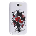 Red Heart Pattern Soft Case with Rhinestone for Samsung Galaxy Note 2 N7100