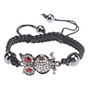 Black Gallstone Crystal Owl Braided Rope Bracelet