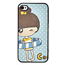 Cartoon meisje in zwemmen Ring Pattern Hard Case voor iPhone4/4S