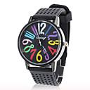 Frauen bunte Zahlen Silikon-Band Quarz-Armbanduhr Analog beiläufige Uhr (Black)