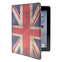 Union Jack Mönster PU Leather Full Body Väska med stativ för iPad 2/3/4