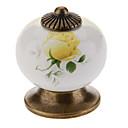 Ceramic Ternate Yellow Rose Button Drawer Handle