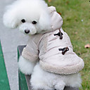 Lovely British Style Horn Button Warm Coat with Hoodie for Pets Dogs (Assorted Sizes)