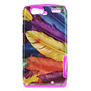 Colorful Feather Pattern TPU Material 2-i-1 Tillbaka Case MOTO XT910/XT912