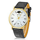 Men's Gold Round Dial PU Band Quartz Analog Wrist Watch (Assorted Colors)