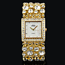Women'S Square Dial Gold Silver Alloy Band Quartz Analog Wrist Watch