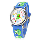 Children's Little Round Dial 3D Smiling Frog Peace Patern Silicone Band Quartz Analog Wrist Watch