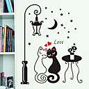 Night Streetlight Lovers Cat Pattern PVC DIY Wall Paper