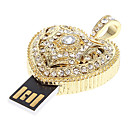 8GB Golden Crystal Heart Feature USB Flash Drive