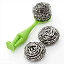 JJJ-K1018 To Vertical Steel Ball Kitchen Pot Brush Cleaning Brush with Two Steel Balls Replaced