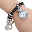 Buy Women's Diamante Round Dial PU Band Quartz Analog Bracelet Watch Cool Watches Unique