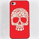 Red Bottom Floret Skull Hard Glue Edge Grinding Case for iPhone 4/4S