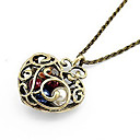 European Hollow Peach Heart With Colorful Pearl Alloy Pendant Necklace (1 Pc)