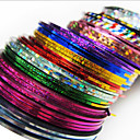 24PCS Mixs Color afstribningstape Linje Nail Stripe Tape Nail Art Decoration Sticker