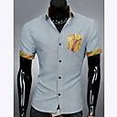 För män Pocket Skarvning Color Plädar Kortärmad skjorta