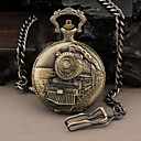 Men's Round Nostalgia Steam Train Head Quartz Analog Pocket Watch