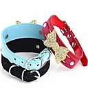 Adjustable PU Leather Rhinestone Decorated Collars for Pets Dogs (Assorted Colors,Size)