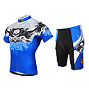 fjqxz muške lubanje dizajn prozračne mrežaste dres Lycra kratke ljetne kratki rukav biciklizam odijelo - plava + bijela