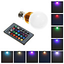 E26/E27 3W Integrate LED 240 LM RGB G60 Remote-Controlled LED Globe Bulbs AC 85-265 V