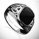 Lureme®Fashion Men's Black Stone Ring(Black)(1 Pc)