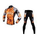 fjqxz 3d coupe slim plaques continentales des hommes respirant maillot de cyclisme à manches longues - gris et orange