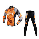 FJQXZ Men's 3D Slim Cut Continental Plates Breathable Long Sleeve Cycling Suit - Gray + Orange