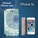 Special Grains Flowers Clear Pattern PU Full Body Case with Card Slot for iPhone 5/5S