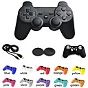 Dual Shock Wireless Bluetooth Game Controller + Button Protector + Silicone Case + Cable for Sony PS3