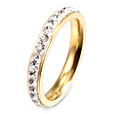 Fashion Twinkle Zircon Golden Stainless Steel Band Rings(1 Pc)