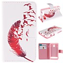 Red Feather Design PU Leather Full Body Case with Stand and Card Slot for  Sony Xperia E1 experia D2004 / D2005
