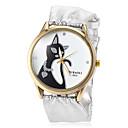 Buy Women's Cat Pattern Soft Silver PU Band Quartz Wrist Watch (Assorted Colors) Cool Watches Unique