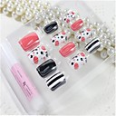 12 Pcs  Color Dot Design Nail Art Tips With Glue