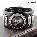 Miss ROSE® Punk 25cm Men's Black Leather With Gold Alloy ID Bracelet(1 Pc)