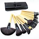 Buy 2Burlywood Professional Wood Handle Makeup Brush Set Black Leather Case