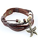 European And American Retro Hand-woven Leather Bracelet Multi-Beaded Hanging Starfish