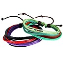 Buy Simple Recreational Multi-Strand Braided Leather Bracelet Colored Wax Rope