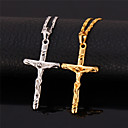 U7® Crucifix 18K Real Gold Platinum Plated Jeu Cro Pendant Choker Necklace for Women or Men
