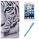 White Tiger Design PU Leather Full Body Case with Film and Capacitance Pen for iPhone 5C
