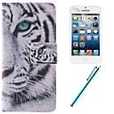 Bílý tygr designu PU kůže plné tělo pouzdro s filmem a kapacitní pero pro iPhone 5c