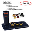 apexel 4 em 1 8x lente do telescópio preto + lente olho de peixe + grande angular + câmera com lente macro caso para Samsung Galaxy S5