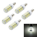 5pcs E14 10W 1000LM 6500K/3000K  69-5050 SMD Warm/Cool White Light LED Corn Bulb (AC 220~240V)